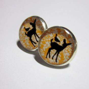 Baby Deer and Bird on Tangerine Damask Pattern Resin Post Silver Earrings